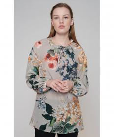 Silk Floral Tunic Blouse