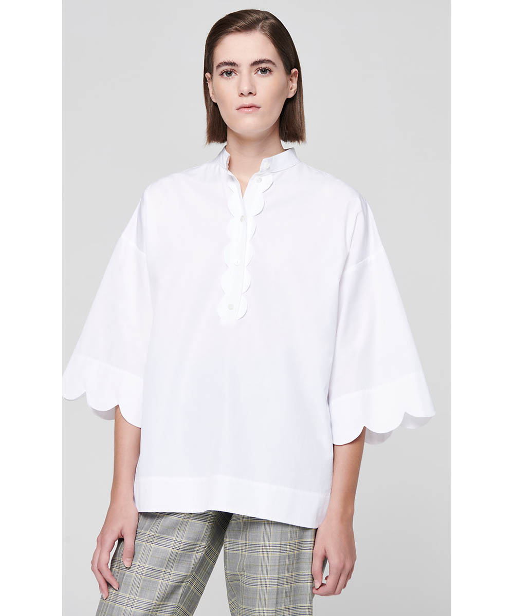Cotton Scallop Trim Shirt